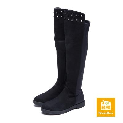 鞋櫃ShoeBox 長靴-布面鉚釘前長後短低跟長靴-黑