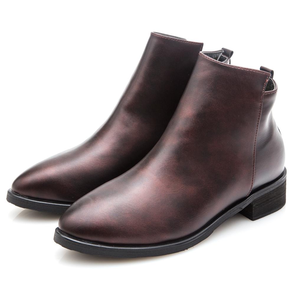 G.Ms. 金屬仿舊擦色素面拉鍊短靴-金屬紅