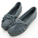 MINNETONKA 藍灰色麂皮素面莫卡辛 女鞋