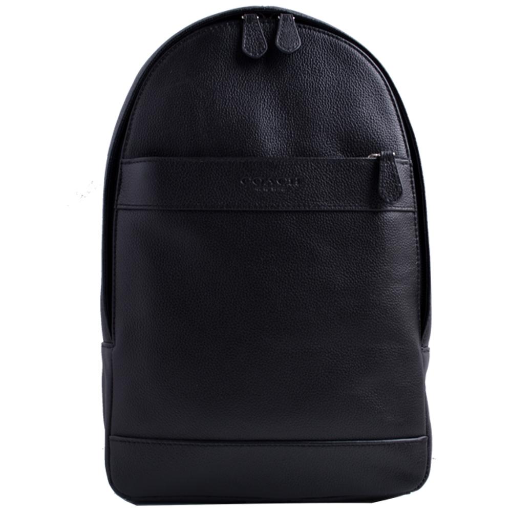 COACH 壓印LOGO拉鍊前袋皮革單肩斜背後背包-黑COACH