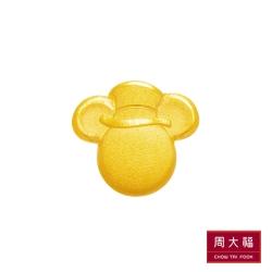 周大福 迪士尼經典系列 霧面米奇黃金耳環(單耳)