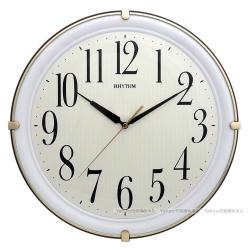 RHYTHM日本麗聲 簡約品味夜光靜音掛鐘(咖啡棕)/35cm