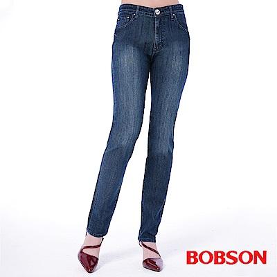 BOBSON 女款高腰刺繡鑽飾小直筒褲(藍52)