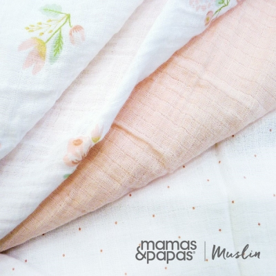 【Mamas & Papas】Muslin紗布巾組3入-薔薇粉
