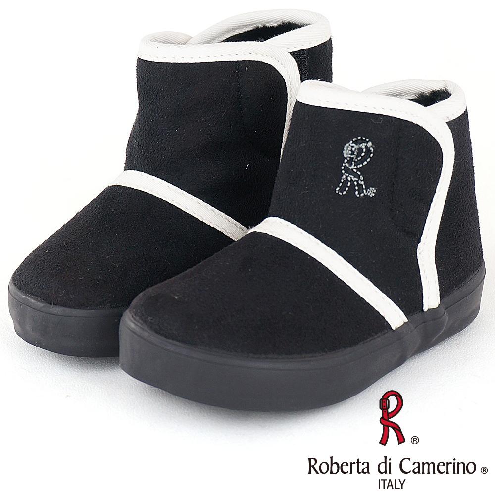 Roberta諾貝達 溫暖絨毛內裡休閒雪靴童鞋-黑(中小童)