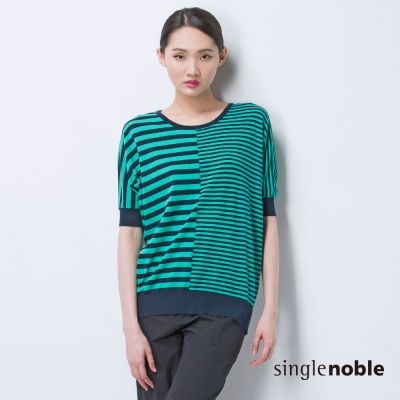 獨身貴族 搶眼粗細對比條紋五分袖線衫(2色)