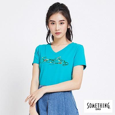 SOMETHING 熱帶花紋V領短袖T恤-女-藍綠色