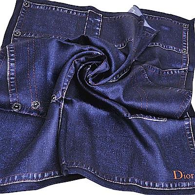 Dior 義大利製品牌LOGO單寧造型絲巾/領巾(牛仔丹寧色)