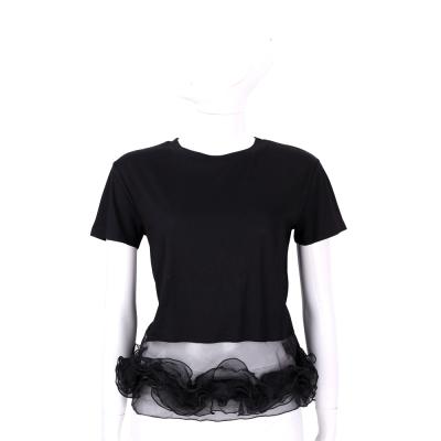 EDWARD ACHOUR PARIS 黑色拼接紗質下襬短袖T恤