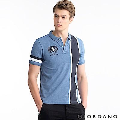 GIORDANO 男裝拿破崙刺繡徽章彈力棉POLO衫-23 花紗藍