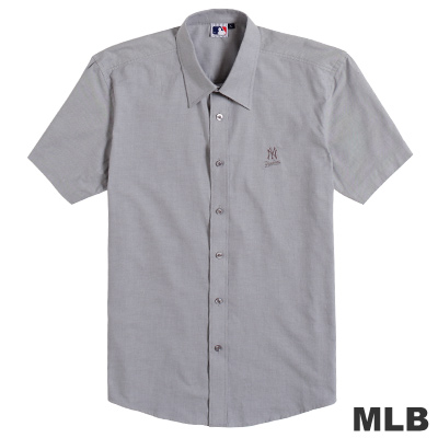 MLB-紐約洋基隊休閒短袖襯衫-深灰(男)