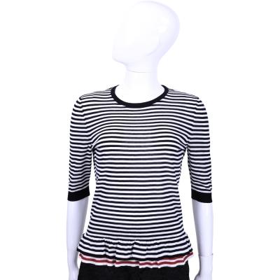 RED VALENTINO 深藍x白色條紋拼接五分袖上衣
