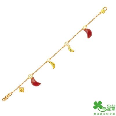 幸運草 享如意黃金/瑪瑙中國繩手鍊
