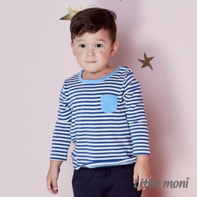 Little moni 條紋拼色口袋上衣 (共2色)