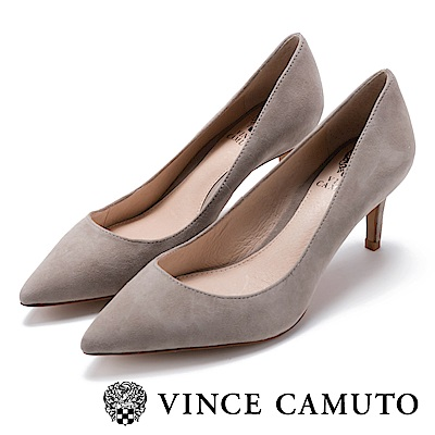 Vince Camuto 都會風尚 原色尖頭曲線高跟鞋-絨灰