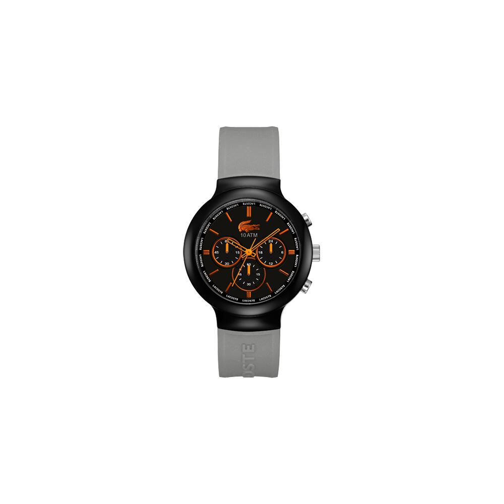 Lacoste 鱷魚 運動時尚計時腕錶-黑灰/44mm