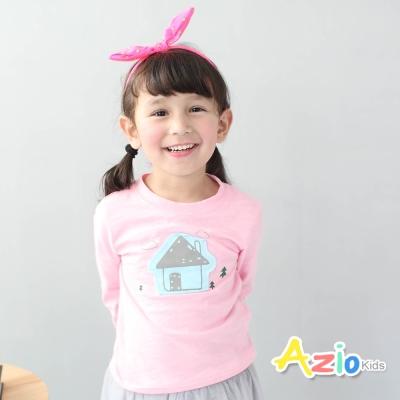 Azio Kids 童裝-上衣 房子小樹長袖棉T(粉)