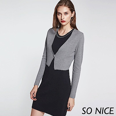 SO NICE都會質感短版針織外套