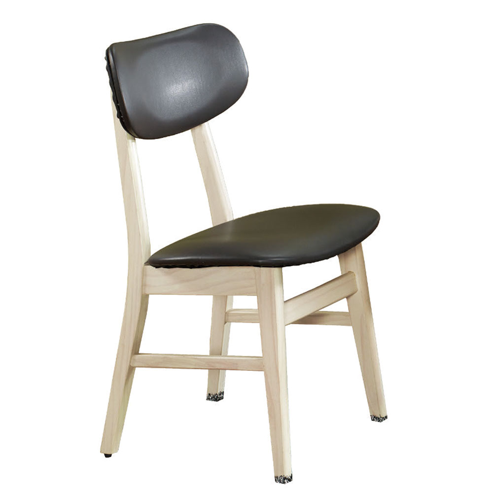 AT HOME 溫尼白橡實木深灰皮餐椅