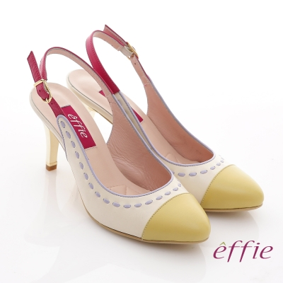 effie 軟芯系列 全真皮雙色拼接車縫線金屬細高跟鞋 黃