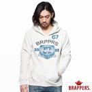 BRAPPERS 男款 盾牌印刷連帽長袖上衣-米白