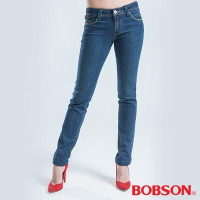 BOBSON 銀色刺繡伸縮小直筒褲-藍色