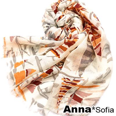 AnnaSofia 帆船塗鴉 薄款純羊毛圍巾(紅橘米)