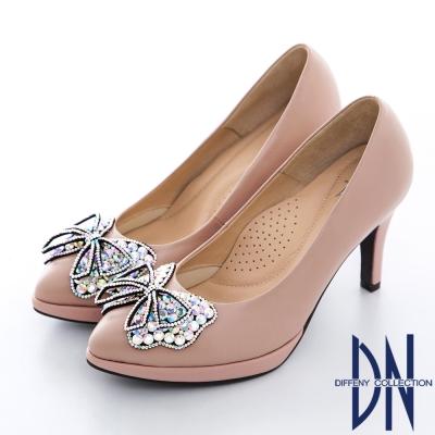 DN-耀眼迷人-MIT層次水鑽拼接尖頭羊皮跟鞋-粉