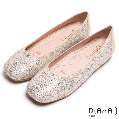 DIANA 漫步雲端焦糖美人款--五彩水鑽蕾絲娃娃鞋-金