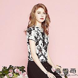 麥雪爾 黑白手繪花朵荷葉縮腰上衣