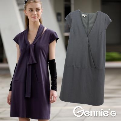 【Gennie's奇妮】簡雅休閒小領巾V領孕婦洋裝(C2Y21)-灰