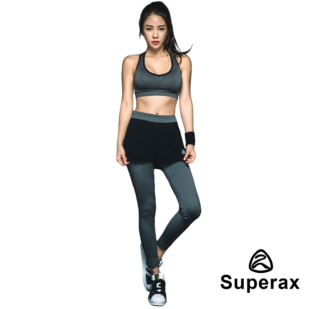 Superax  SW-160 假兩件運動彈性緊身褲 長褲 灰底黑線