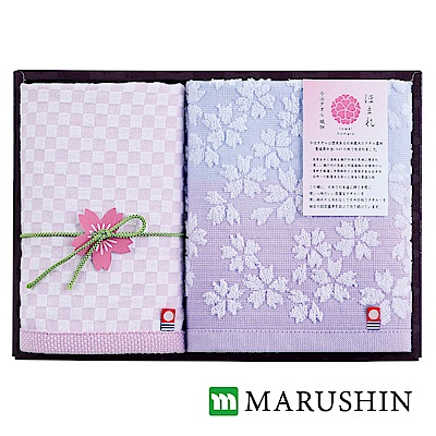 日本丸真 今治櫻花限定禮盒兩件組-紫(方巾x2)