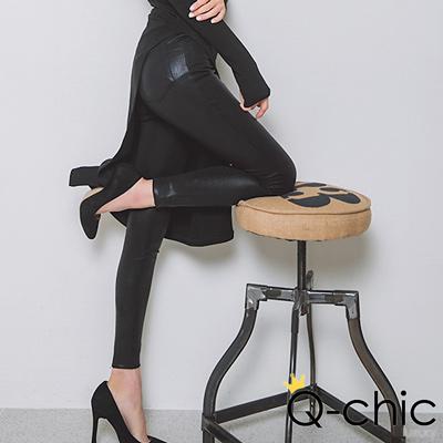 正韓 皮革光澤高腰拉鍊窄管褲 (黑色)-Q-chic