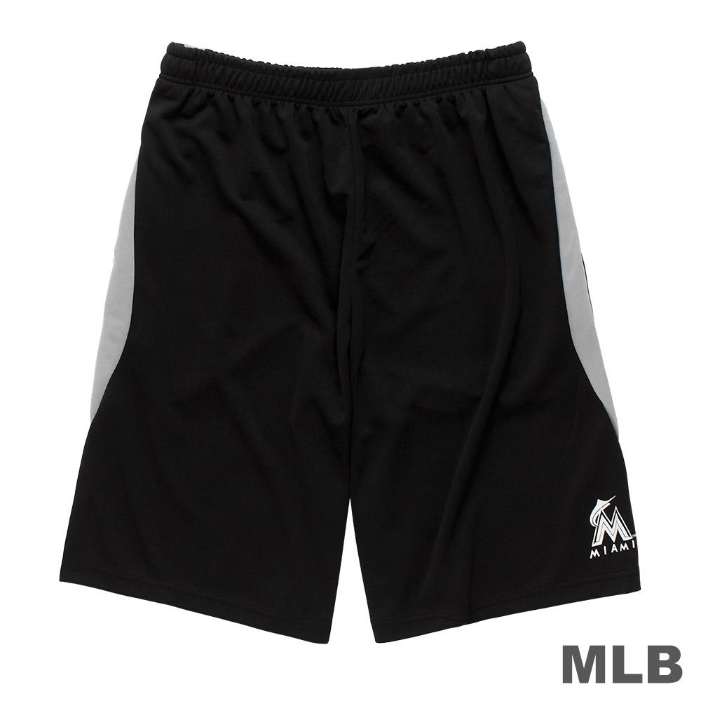 MLB-邁阿密馬林魚隊雙色拼接布快排短褲-黑 (男)
