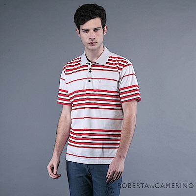 ROBERTA諾貝達 台灣製  撞色條紋 短袖POLO棉衫 紅色