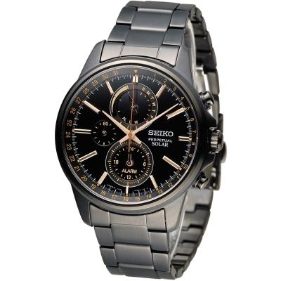 SEIKO SPIRIT 萬年曆多功能計時腕錶(SBPJ019J)黑/40mm