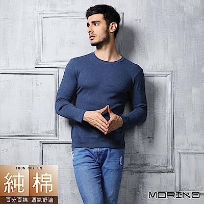 男內衣 純棉 長袖圓領內衣 深藍 MORINO