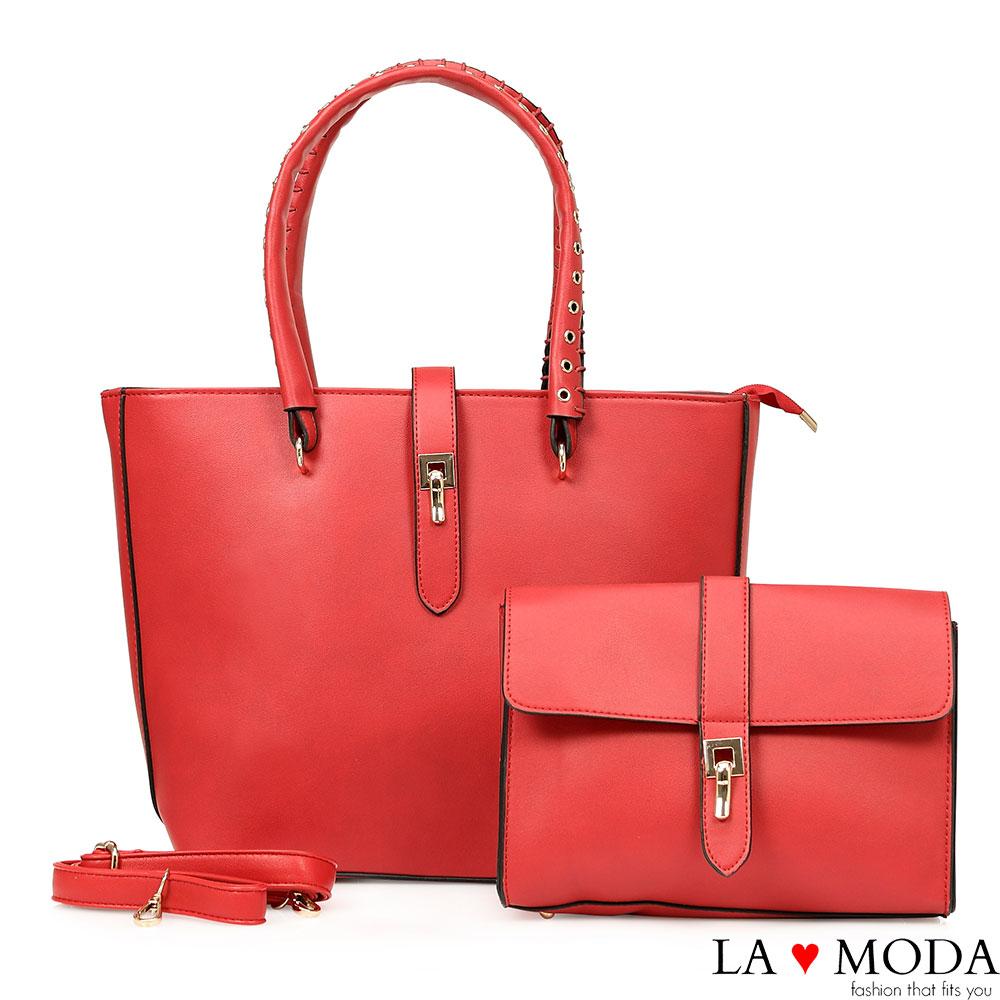 La Moda 經典熱銷~沖孔手把旋鈕大容量子母包托特包兩件組(紅)