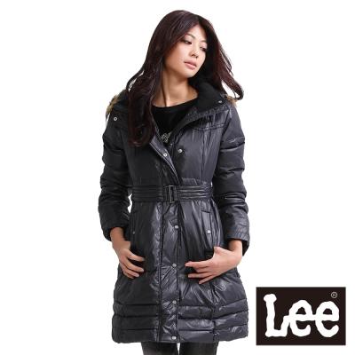 Lee-長版羽絨保暖外套-前拉鍊高領-女款-黑