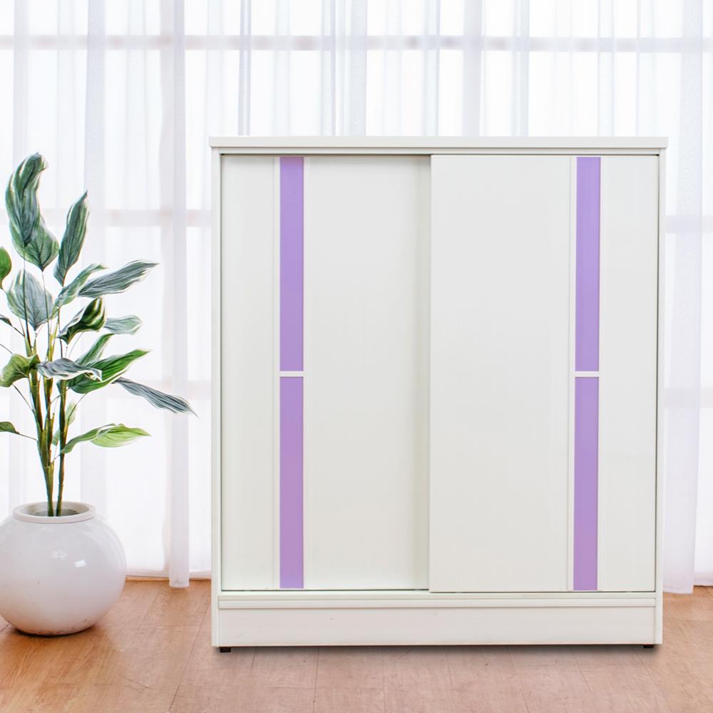 Birdie南亞塑鋼-3尺拉門/推門塑鋼鞋櫃(白色+粉紫色)-90x41x104cm