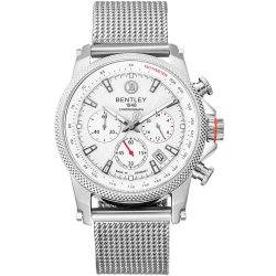 BENTLEY 賓利 RACING系列 競速美學計時手錶-銀/43mm