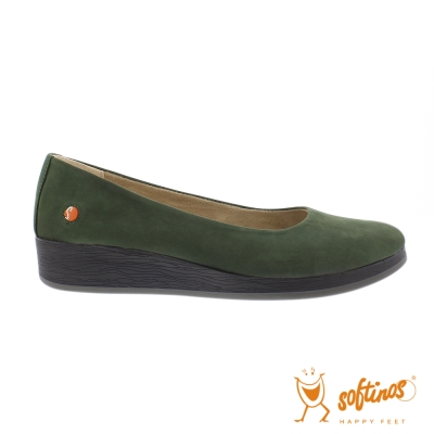 SOFTINOS (女)  輕巧圓頭牛皮休閒鞋-綠