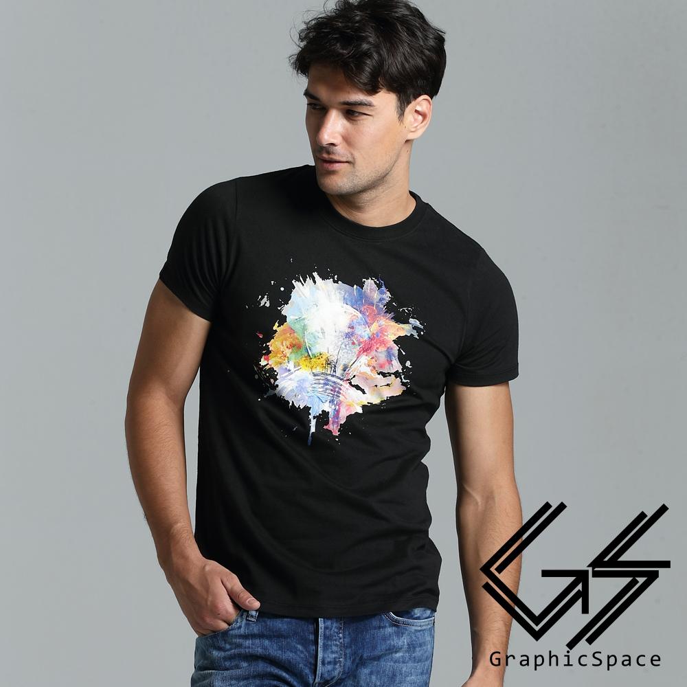 水彩渲染燈泡圖案磨毛水洗T恤(共二色)-GraphicSpace