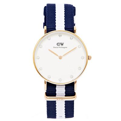 DW Daniel Wellington 海洋風Glasgow手錶 -白面/34mm