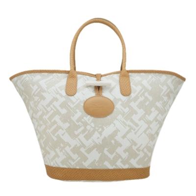 Longchamp-異國風情編織效果設計手提包-淡