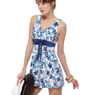 泳裝 連身式 粉藍花海連身裙式女泳裝 聖手牌