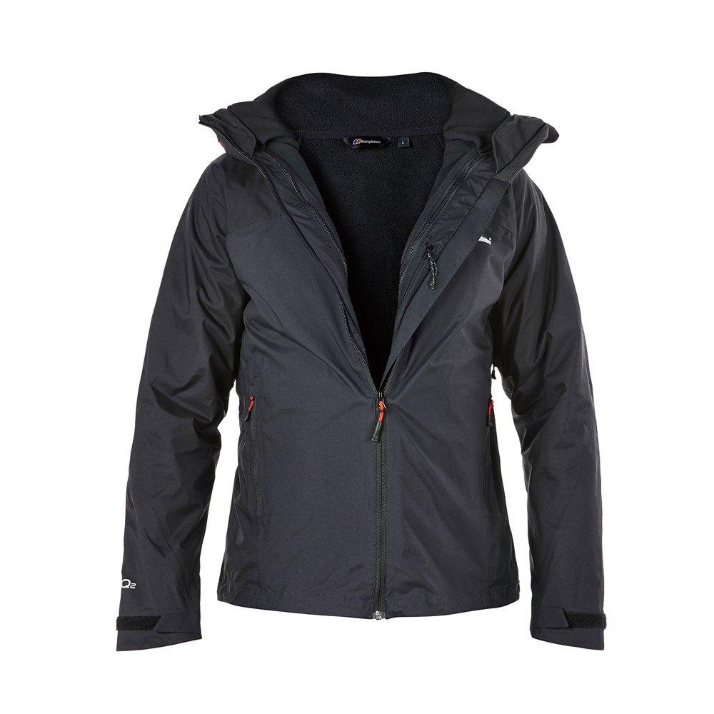 【Berghaus貝豪斯】男款2合1刷毛防水外套H22MT2-黑