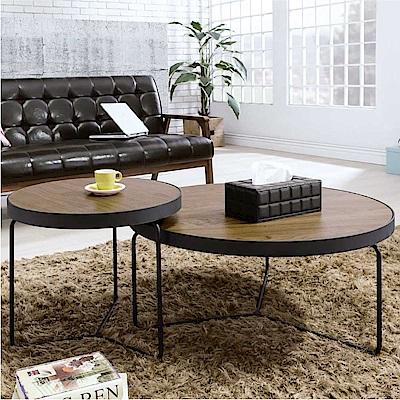 品家居 克雷4.5尺木紋圓形茶几組合-135x83x45cm免組