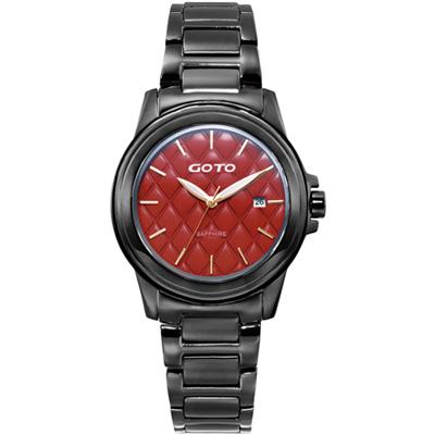 GOTO 法式時尚菱紋腕錶-紅x黑/37mm